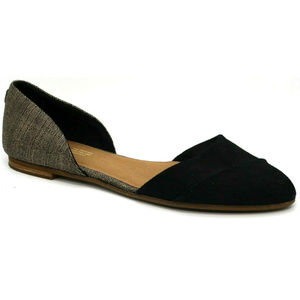 Toms Womens Jutti D'Orsay Black Gold Flats Size 12